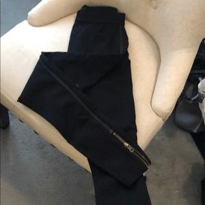 Leggings with leather stripe